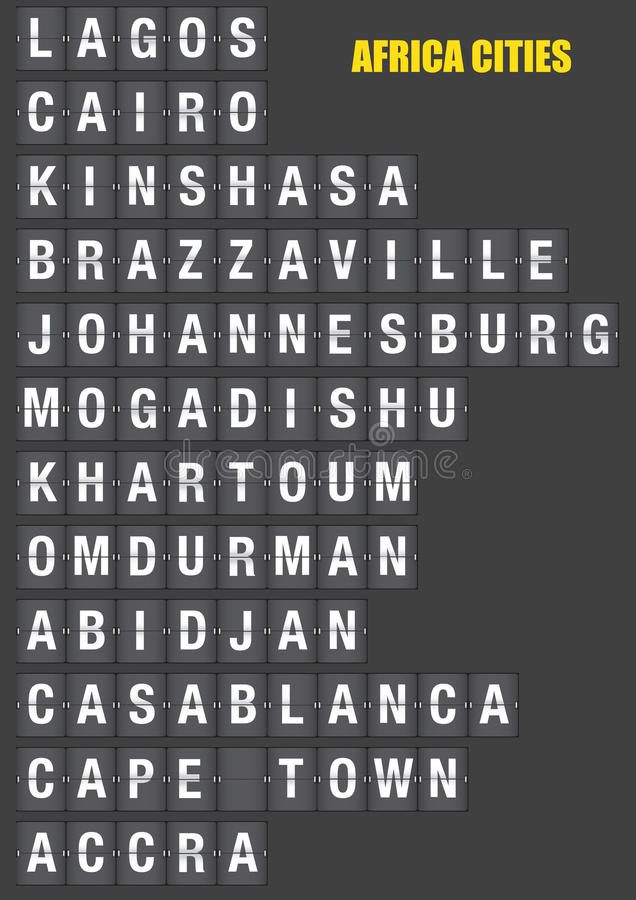 Names of African Cities on Split flap Flip Board Display stock illustration