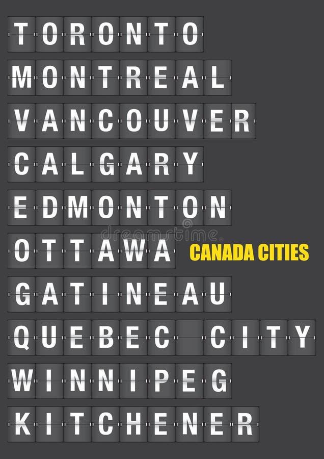 Names of Canadian Cities on Split flap Flip Board Display. Names of Canadian cities on old fashion split-flap display like travel destinations in airport flight stock illustration