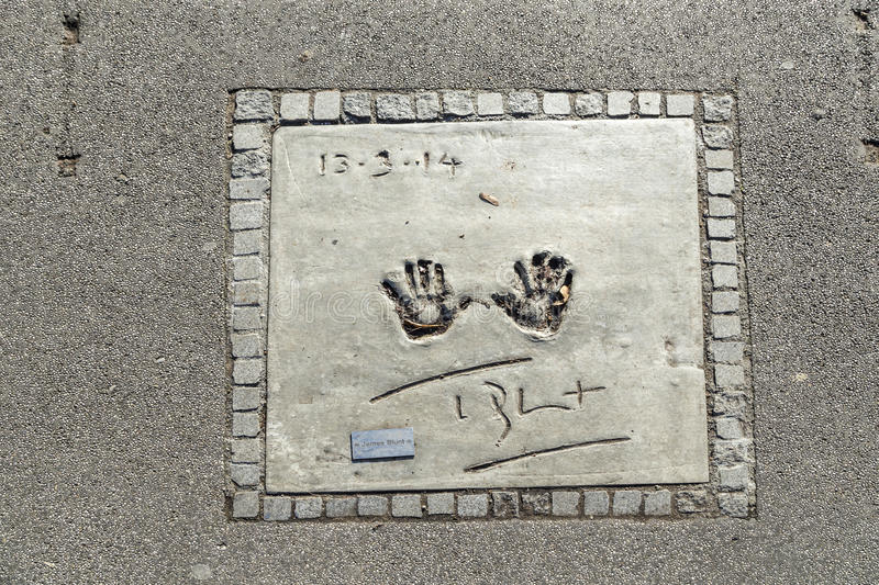 Names and hand prints of stars at the Munich walk of fame in the. MUNICH, GERMANY - NOV 28, 2016: names and hand prints of stars at the Munich walk of fame in stock image