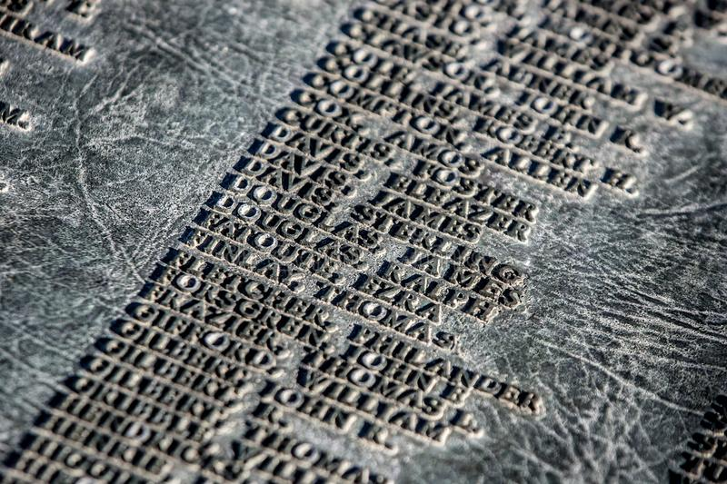 Names on a Utah Capital Monument stock photography