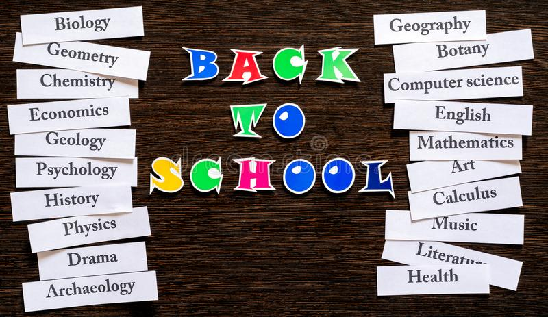 Names of school subjects royalty free stock image
