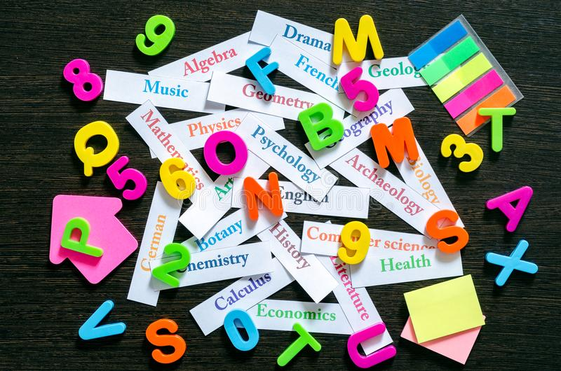 Names of school subjects royalty free stock photos