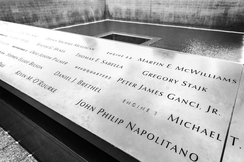 Names of the victims of attacks inscribed on the parapets. New York, USA - August 16, 2015: Names of the victims of attacks inscribed on the parapets stock image