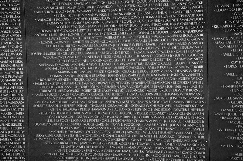Names of Vietnam war casualties on royalty free stock photo