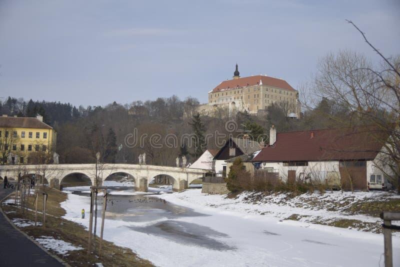 Namestnad Oslavou van de de straat oude stad van de beeldfoto het kasteelbrug stock afbeeldingen