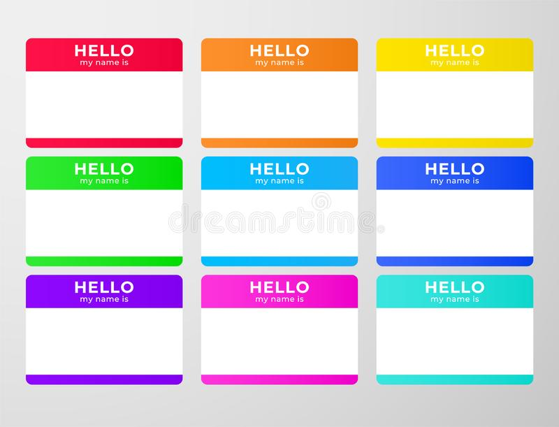 Nametag stickers set. vector illustration