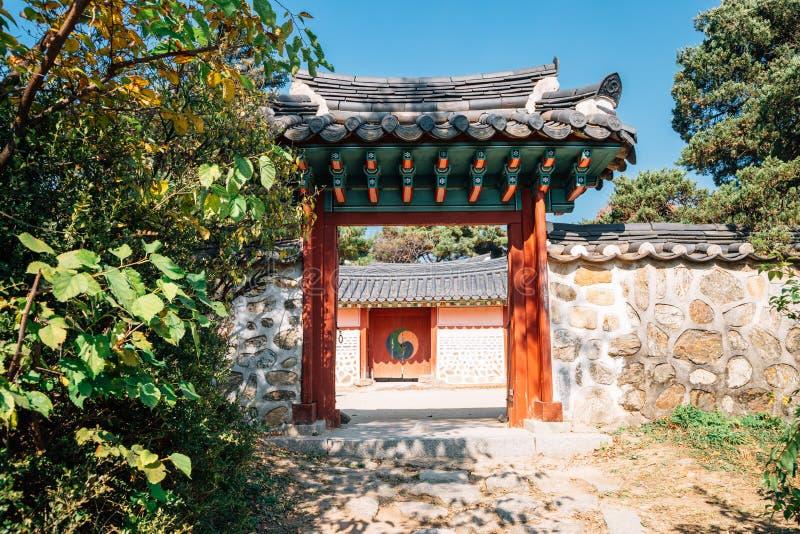 Namhansanseong-Festung, koreanische alte traditionelle Architektur stockbild