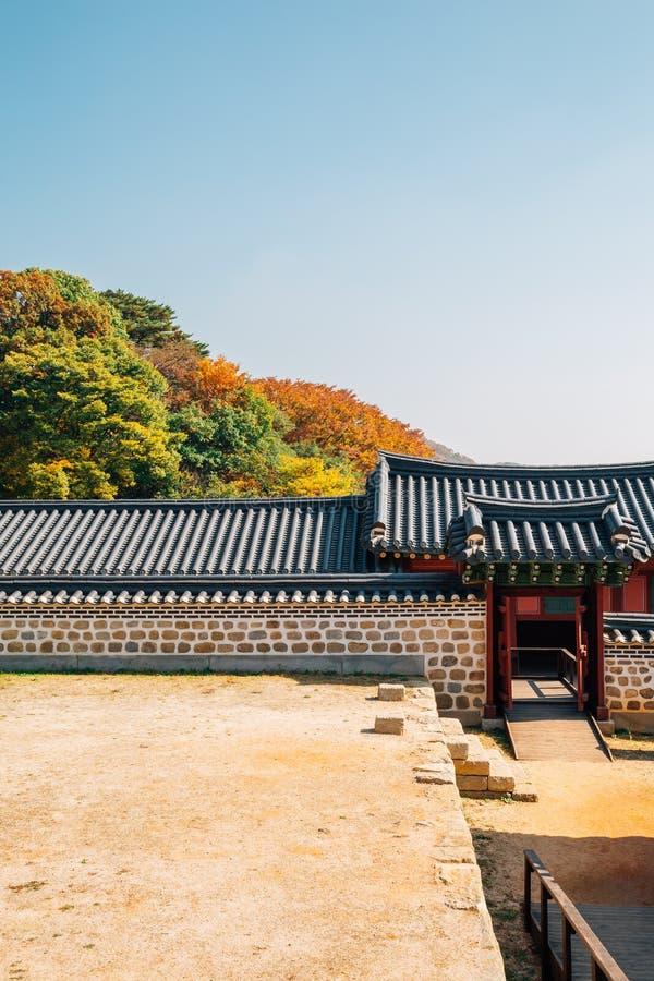 Namhansanseong-Festung, koreanisches altes traditionelles Haus mit Herbstahorn in Gwangju, Korea lizenzfreies stockfoto