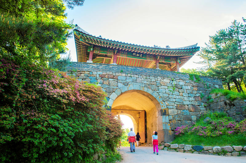 Namhansanseong Fortress in South Korea. SEOUL, SOUTH KOREA - MAY 17 : Namhansanseong Fortress in Seoul, UNESCO World Heritage site. Photo taken on may 17,2015 royalty free stock images