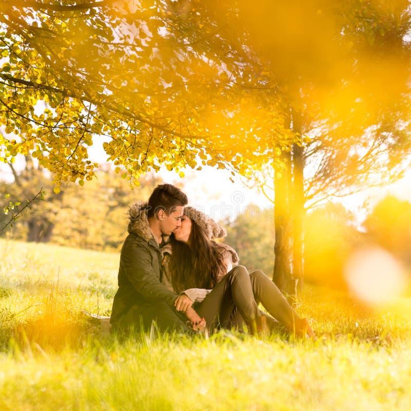 Namiętny całowanie w parku obraz royalty free