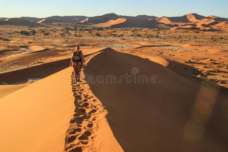 Namib Desert, in the Namib-Nacluft National Park in Namibia. Sossusvlei. Young woman tourist with backpack stands on top royalty free stock images