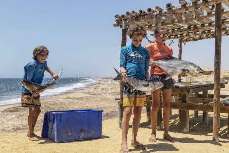 NAMIBE/ANGOLA - 03NOV2018 - Groep kinderen enkel van een visserijochtend zijn teruggekeerd met in hand die vissen stock foto
