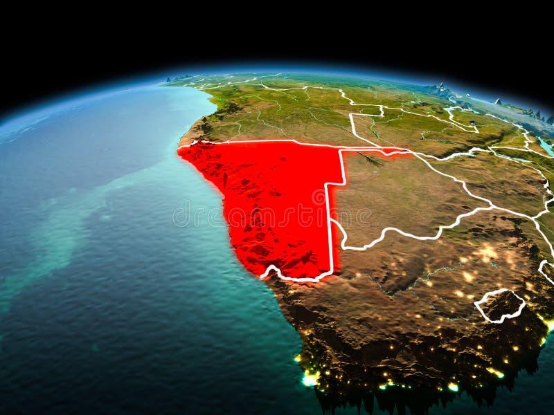 Namibië op aarde in ruimte stock illustratie