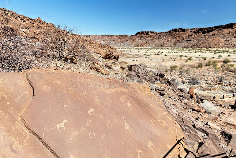 Namibia, Africa. Twyfelfontein. A site of ancient rock engravings in the Kunene Region of north-western Namibia stock image