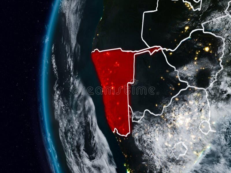 Namibia del espacio durante noche ilustración del vector