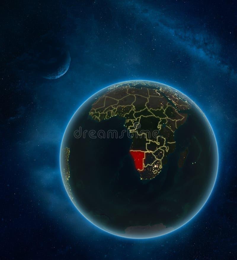 Namibia del espacio en la noche ilustración del vector