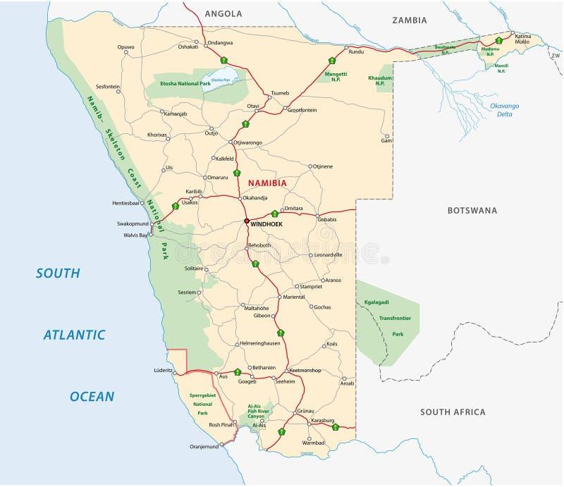 Namibia drogowa mapa ilustracja wektor