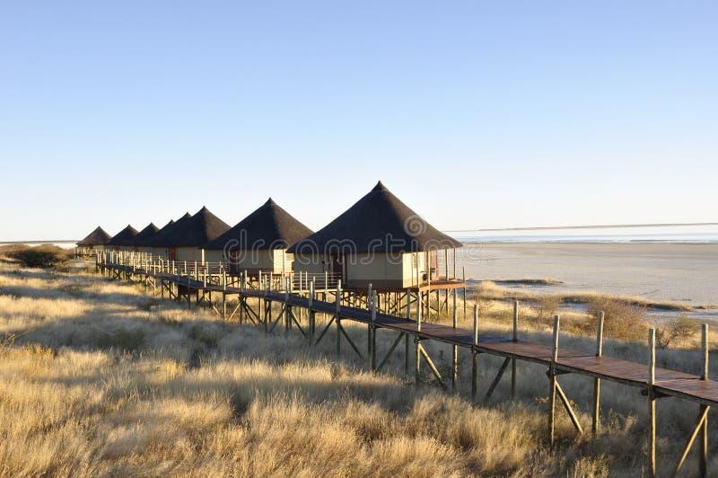 Namibia: El campo de Onkoshi con la visión impresionante sobre el Etosha Saltpans foto de archivo