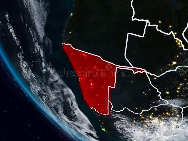 Namibia en la noche del espacio ilustración del vector
