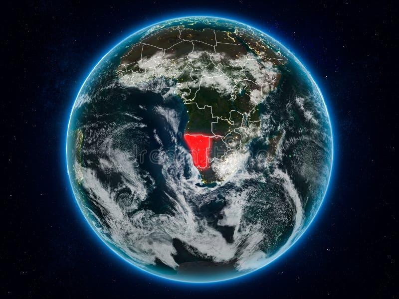 Namibia en la tierra en la noche ilustración del vector