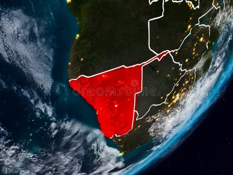 Namibia en la tierra en la noche stock de ilustración