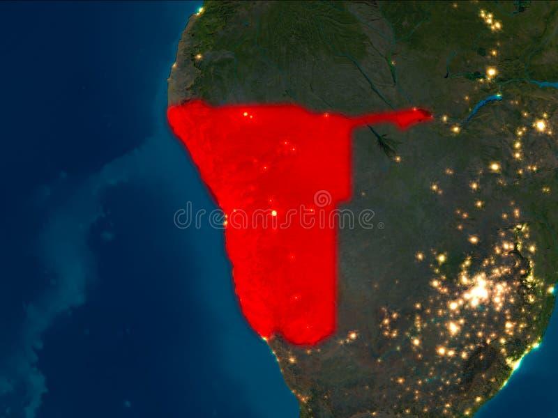 Namibia en rojo en la noche ilustración del vector