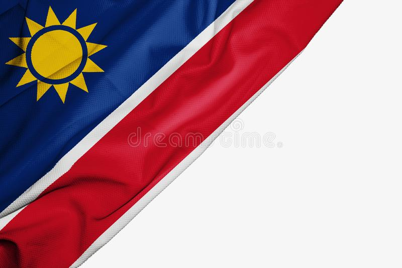 Namibia flag of fabric with copyspace for your text on white background. Africa banner best capital colorful competition country ensign free freedom glory stock illustration