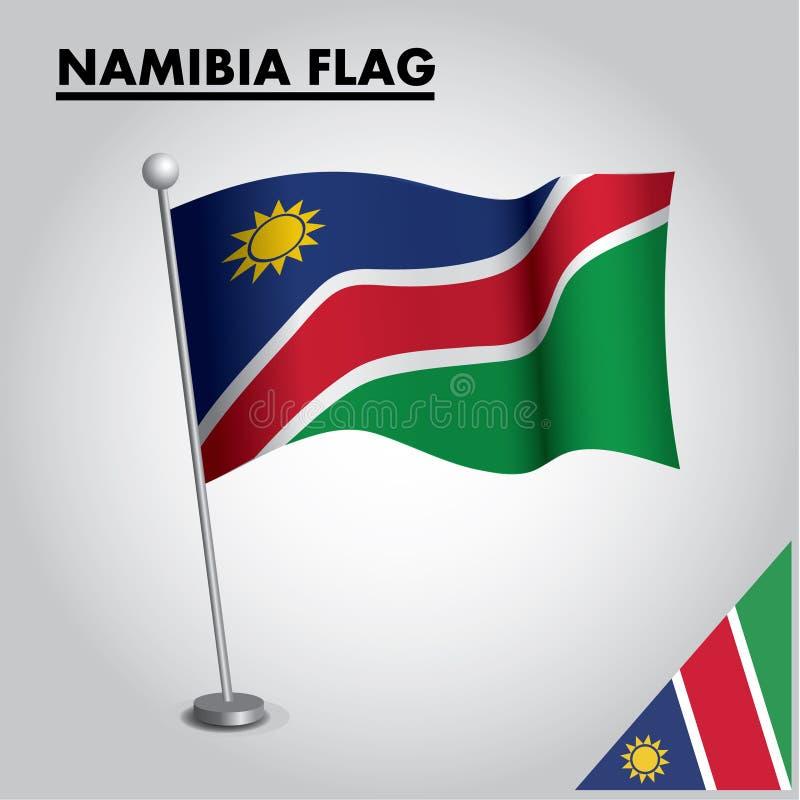 NAMIBIA flag National flag of NAMIBIA on a pole stock illustration