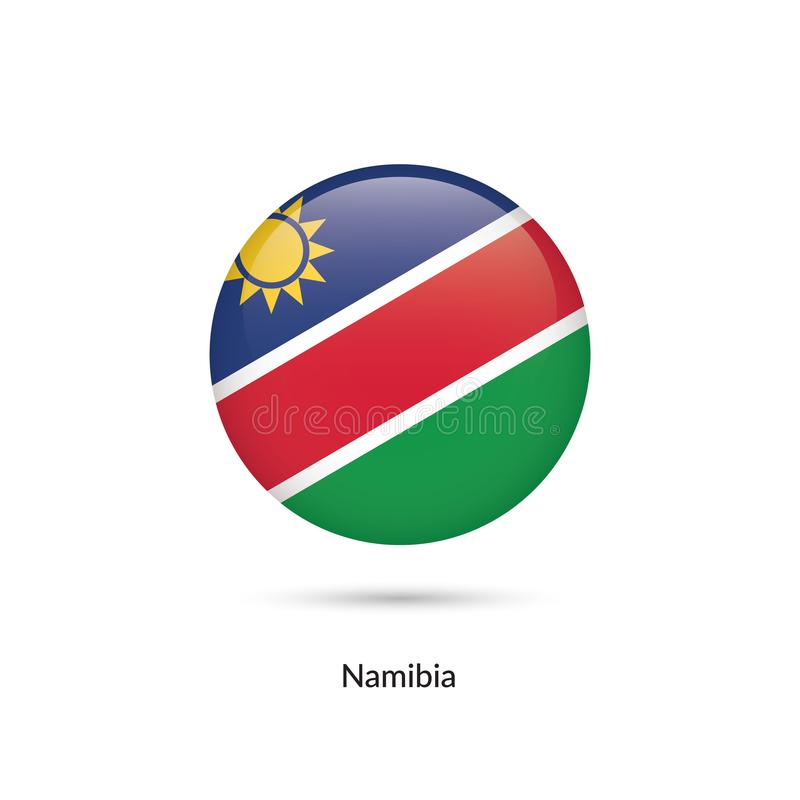 Namibia flagga - rund glansig knapp stock illustrationer