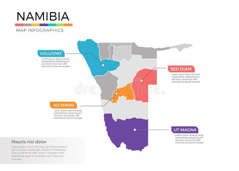 Namibia-Karte infographics Vektorschablone mit Regionen und Zeigerkennzeichen lizenzfreie abbildung