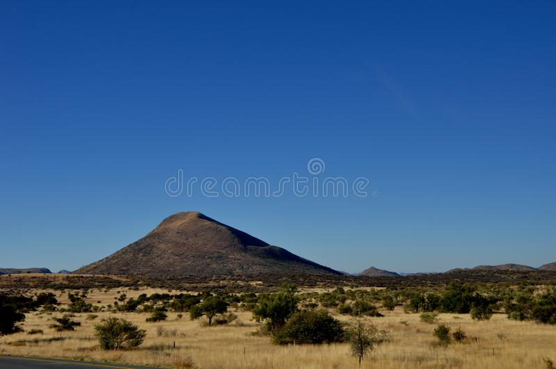 Namibia: Landscape with hills in the Kalahari-semi desert in the stock image