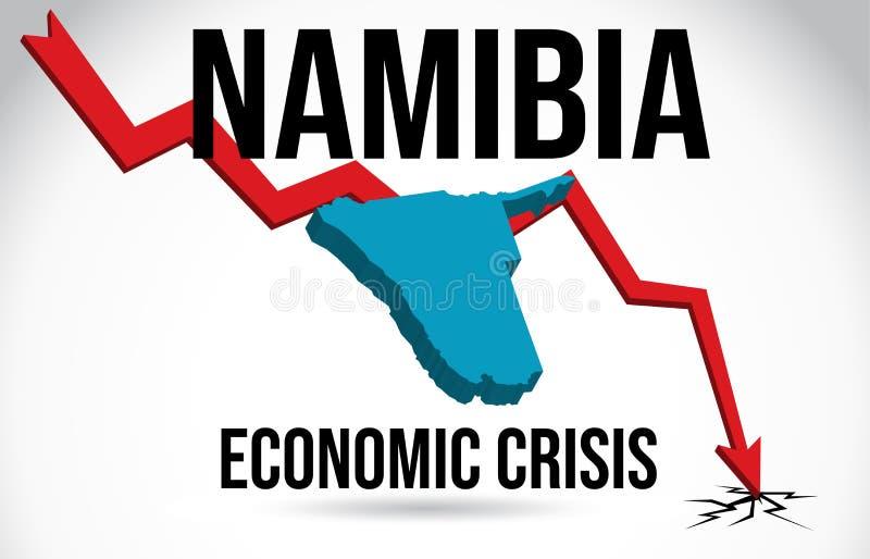 Namibia Map Financial Crisis Economic Collapse Market Crash Global Meltdown Vector. Illustration stock illustration