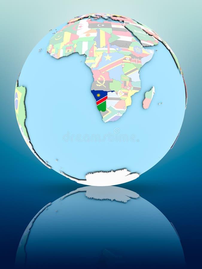 Namibia na politycznej kuli ziemskiej z flaga ilustracji