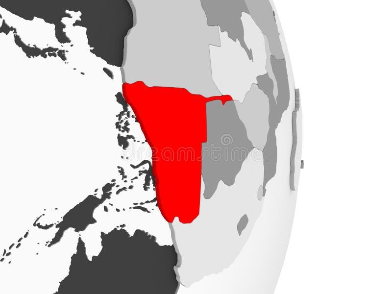 Namibia na popielatej politycznej kuli ziemskiej ilustracja wektor