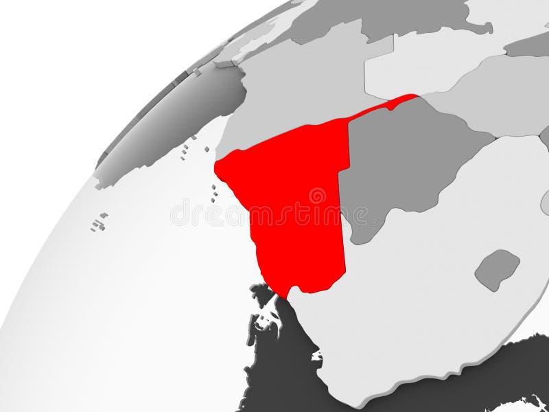 Namibia na popielatej politycznej kuli ziemskiej ilustracji