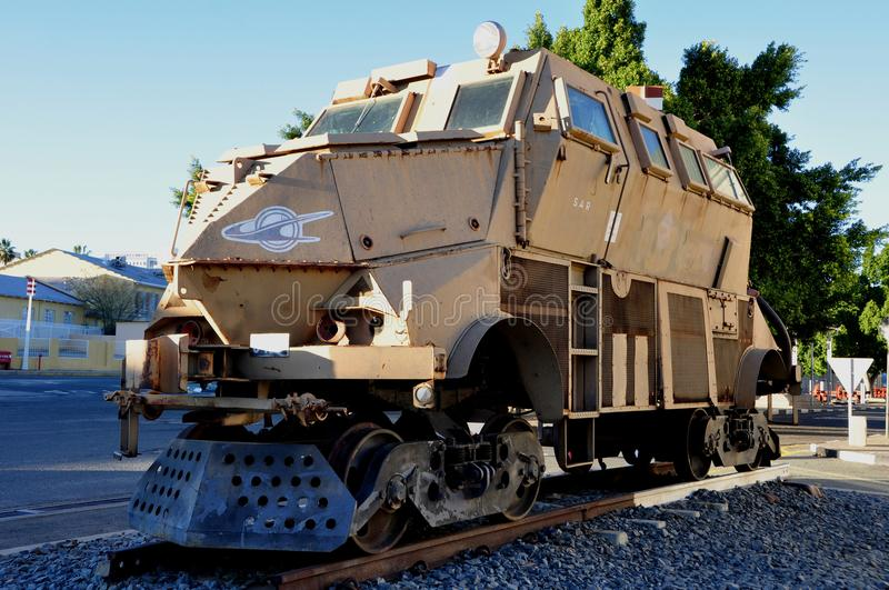 Namibia: An old Police-train during Apartheid shown in front of. The Namibia Railway museum stock image