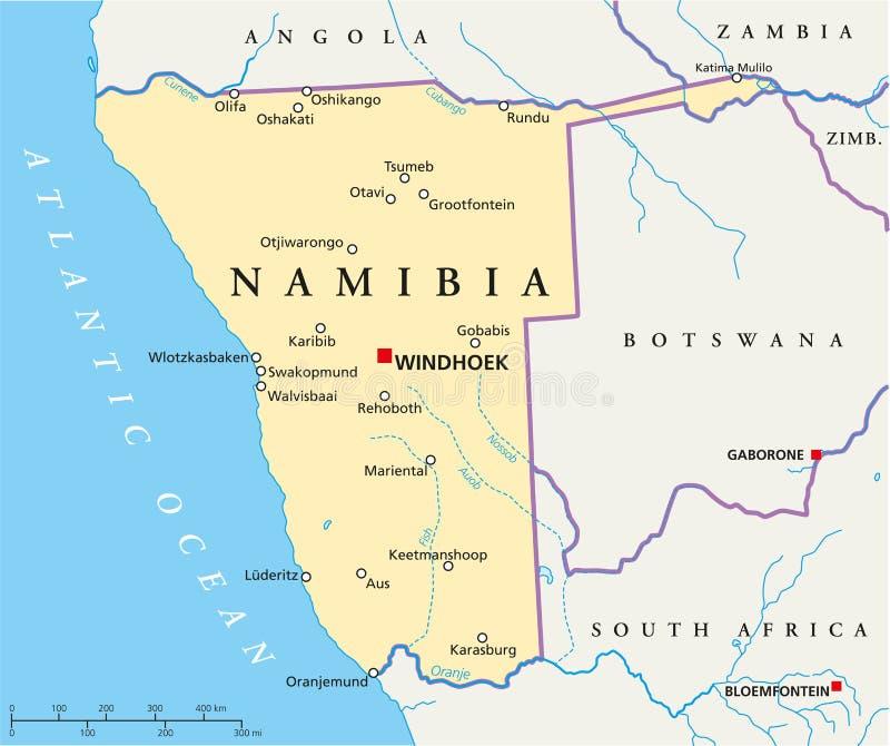 Namibia polityczna mapa ilustracji