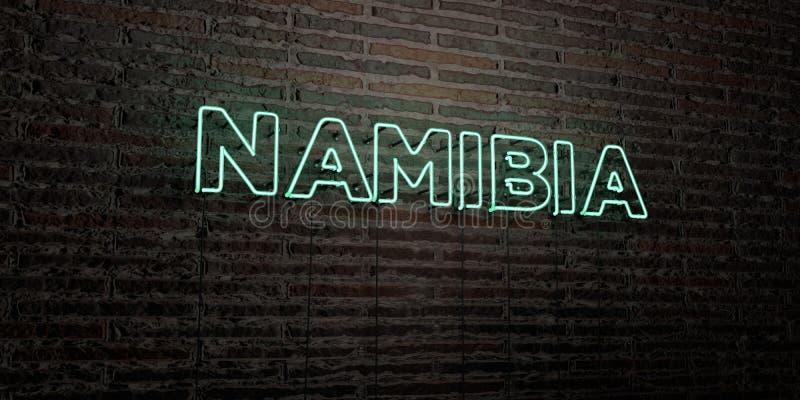 NAMIBIA - señal de neón realista en fondo de la pared de ladrillo - 3D rindió imagen común libre de los derechos libre illustration