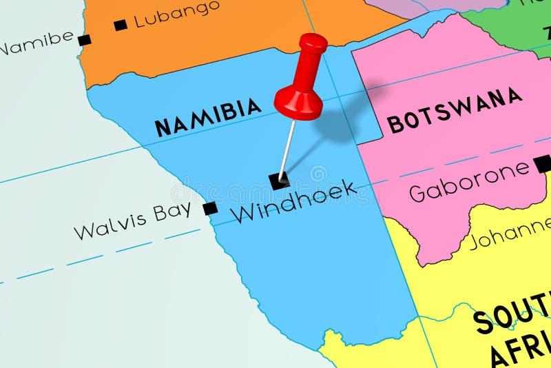 Namibia, Windhoek - stolica, przyczepiająca na politycznej mapie royalty ilustracja