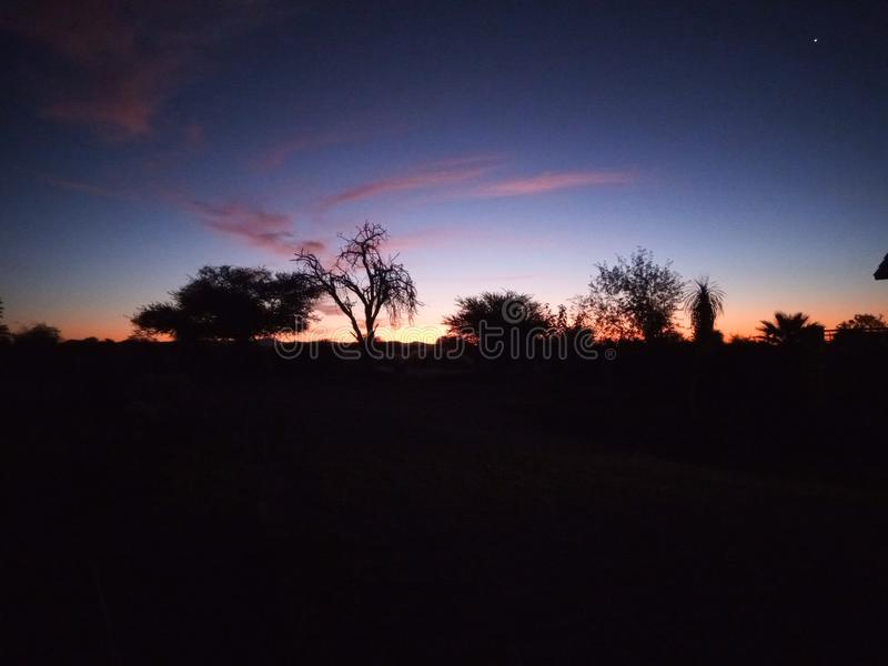 namibian solnedgång royaltyfri foto