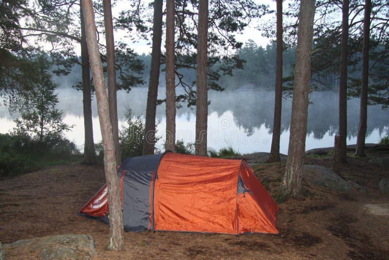 Namiot blisko do małego jeziora w głębokim lesie obraz stock