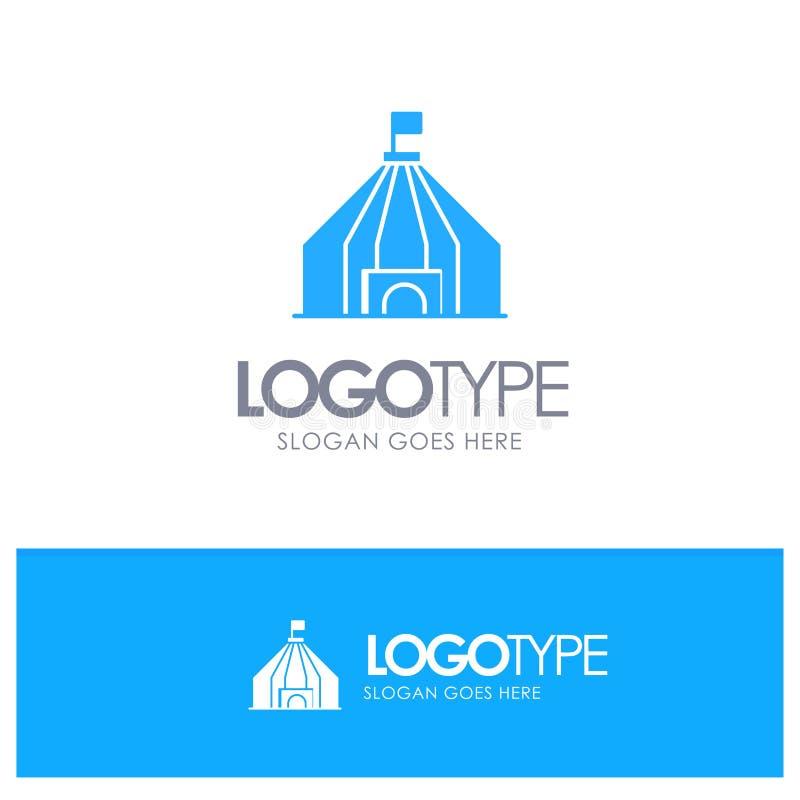 Namiot, namiot, Cyrkowy Błękitny logo wektor ilustracja wektor