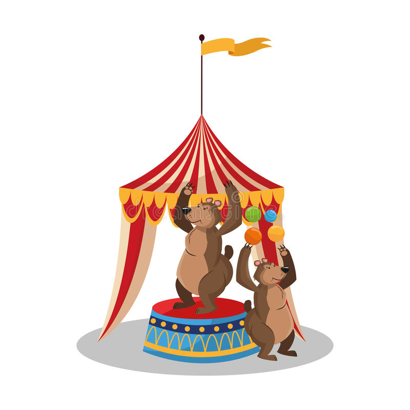 Namiot i niedźwiedź cyrk i karnawałowy projekt ilustracji