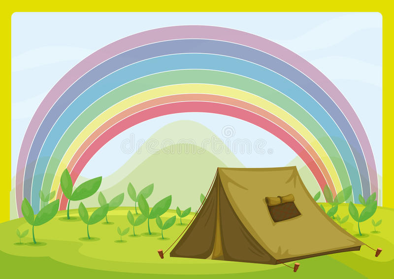 Namiot i tęcza royalty ilustracja