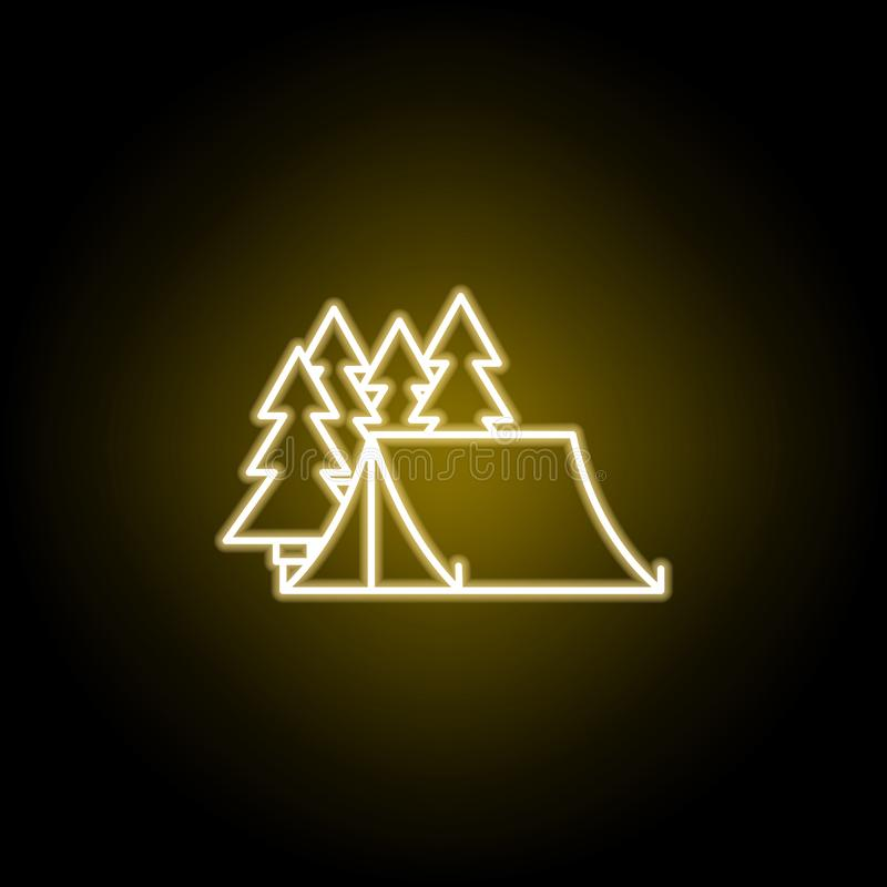 namiot w lasowej ikonie w neonowym stylu Znaki i symbole mog? u?ywa? dla sieci, logo, mobilny app, UI, UX ilustracja wektor