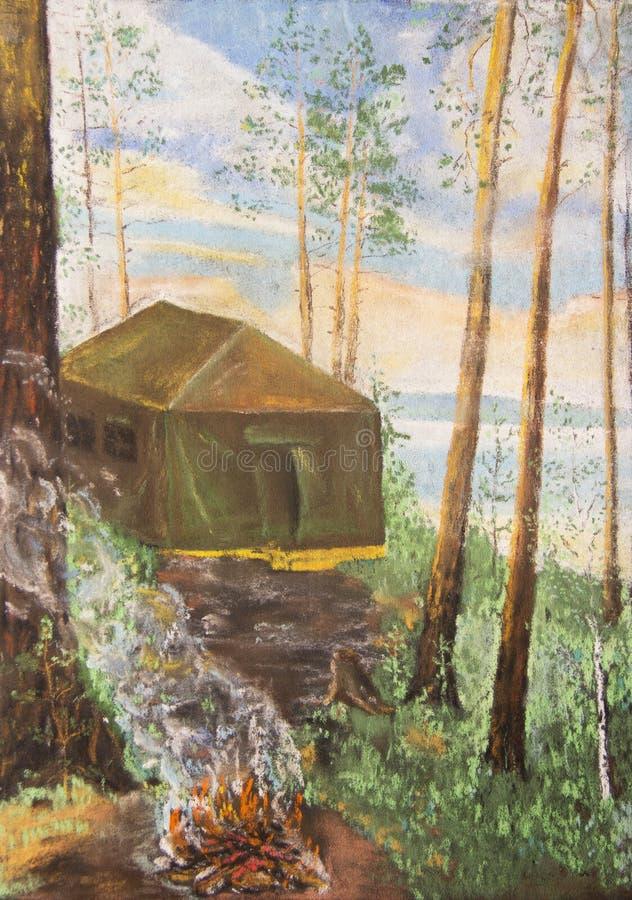 Namiot w sosnowym lesie pastelowy rysunek royalty ilustracja