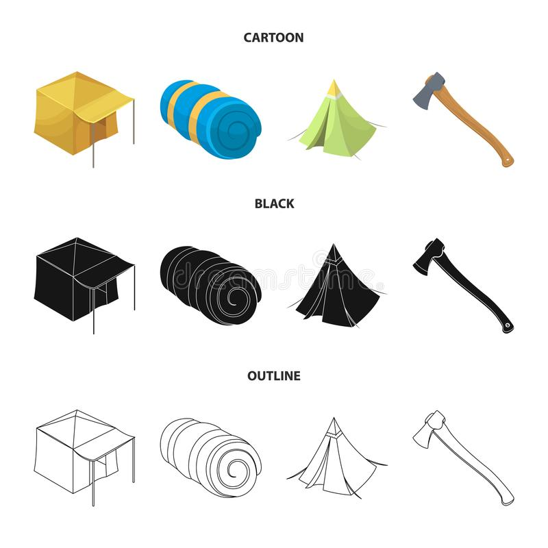 Namiot z markizą, ax i innymi akcesoriami, Namiot ustalone inkasowe ikony w kreskówce, czerń, konturu symbolu stylowy wektorowy z royalty ilustracja