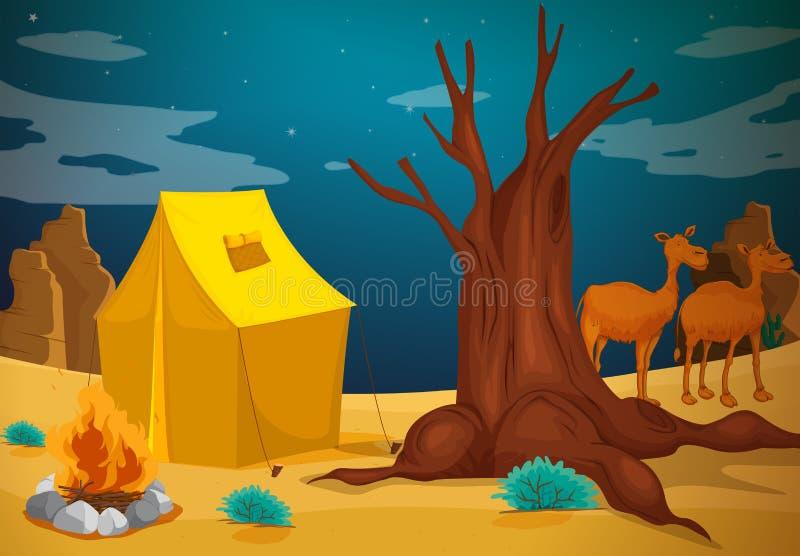 Namiot z obozowym ogieniem ilustracji