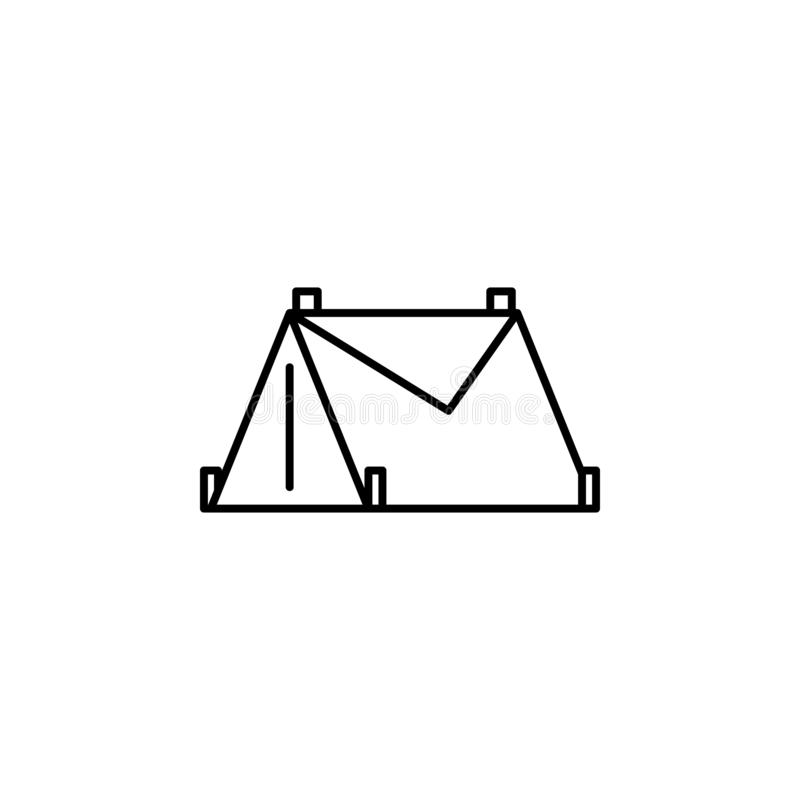 Namiot, zima, sporta konturu ikona Element zima sporta ilustracja Znaki i symbol ikona mogą używać dla sieci, logo, wisząca ozdob ilustracja wektor