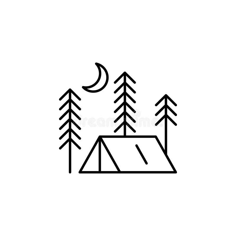 Namiotowa kontur ikona Element styl życia ilustracji ikona Premii ilo?ci graficzny projekt Znaki i symbol inkasowa ikona dla royalty ilustracja